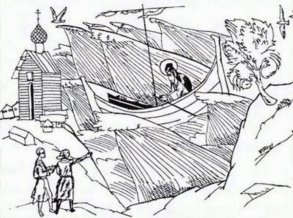 Отец Василий с телом убиенной супруги в море